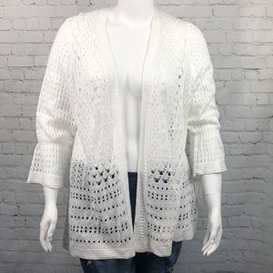 Charter Club White Crochet Open Cardigan Size 2X